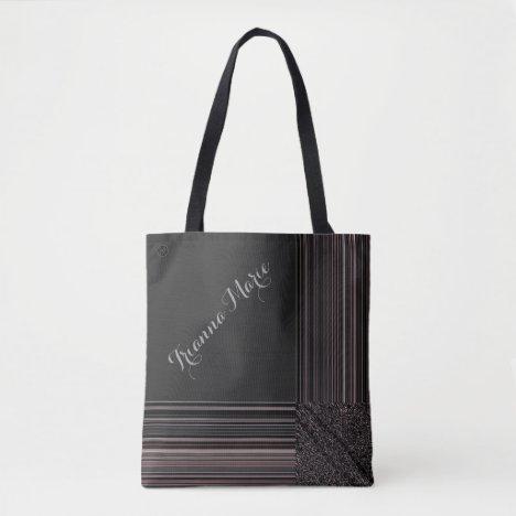 LavishlyOn Monogram Elegant Black Wine Pinstripe Tote Bag