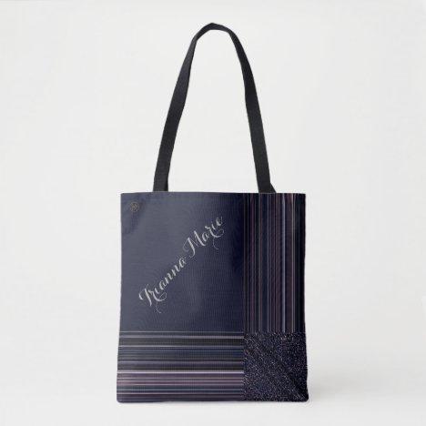 LavishlyOn Monogram Elegant Blue Plum Pinstripe Tote Bag
