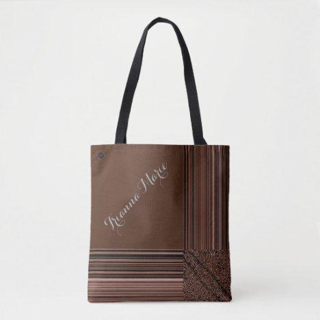 LavishlyOn Monogram Elegant Brown Peach Pinstripe Tote Bag