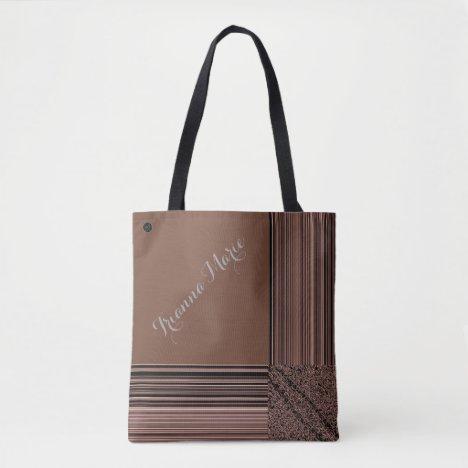 LavishlyOn Monogram Elegant Brown Taupe Pinstripe Tote Bag