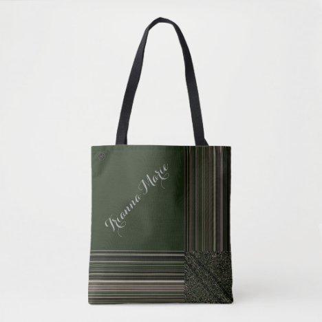 LavishlyOn Monogram Elegant Green Pink Pinstripe Tote Bag