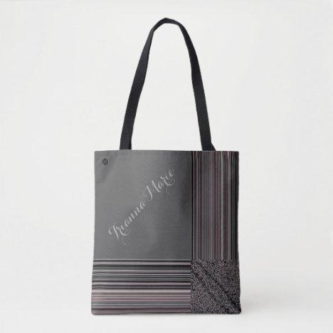 LavishlyOn Monogram Elegant Grey Black Pinstripe T Tote Bag