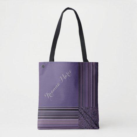 LavishlyOn Monogram Elegant Lavender Pinstripe Tote Bag