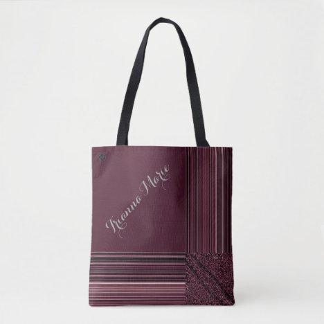 LavishlyOn Monogram Elegant Mauve Pink Pinstripe Tote Bag