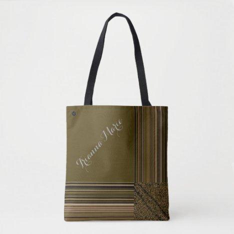 LavishlyOn Monogram Elegant Olive Green Pinstripe Tote Bag