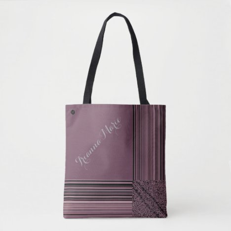 LavishlyOn Monogram Elegant Purple Pinstripe Tote Bag