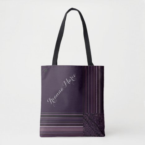 LavishlyOn Monogram Elegant Purple Plum Pinstripe Tote Bag