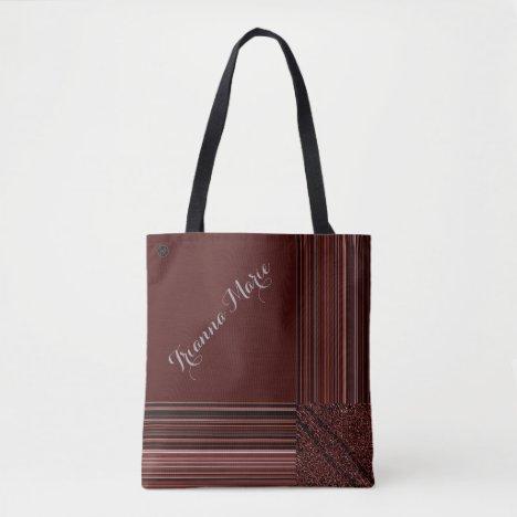 LavishlyOn Monogram Elegant Red Peach Pinstripe Tote Bag