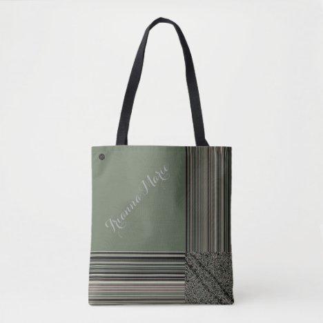LavishlyOn Monogram Elegant Sage Green Pinstripe Tote Bag