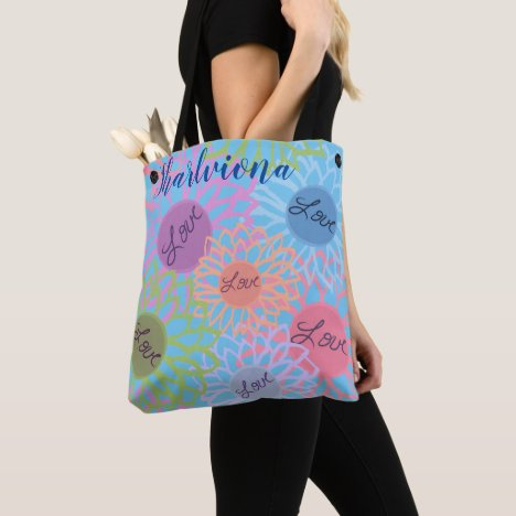 LavishlyOn Monogram  Love Flower Patch Blue Tote Bag
