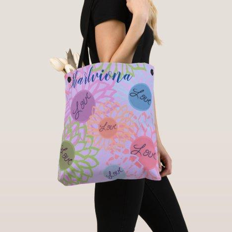 LavishlyOn Monogram  Love Flower Patch Lavender Tote Bag