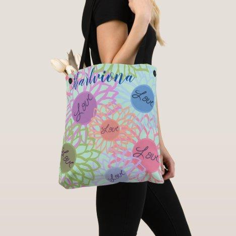 LavishlyOn Monogram  Love Flower Patch Mint Tote Bag