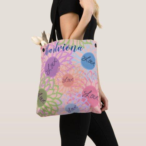 LavishlyOn Monogram  Love Flower Patch Peach Tote Bag