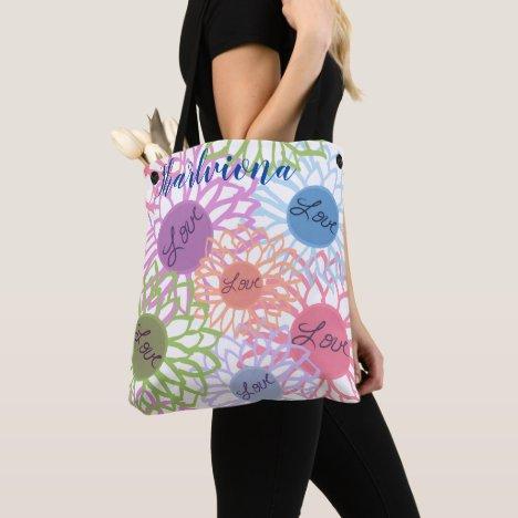 LavishlyOn Monogram  Love Flower Patch White Tote Bag