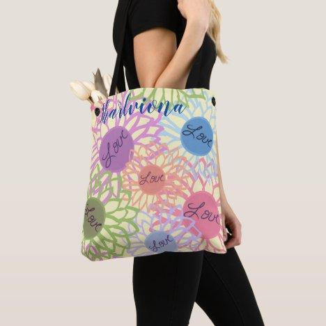 LavishlyOn Monogram  Love Flower Patch Yellow Tote Bag