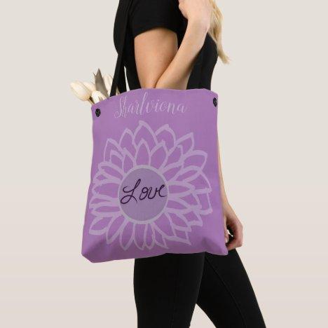 LavishlyOn Monogram Love Flower Purple/Purple Tote Bag