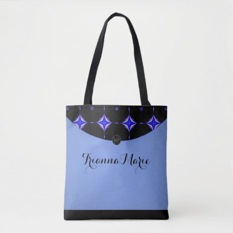 LavishlyOn Powder Blue Diamond Trim Monogram Tote Bag