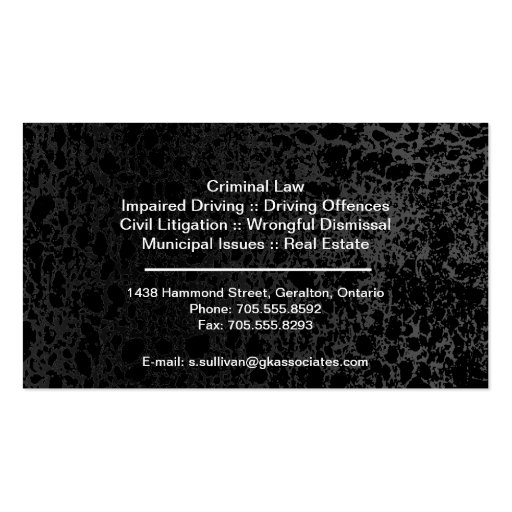 Law Business Card - Black Stylish Lawyer Attorney (back side)