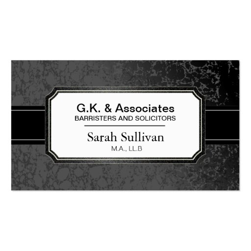 Law Business Card - Black Stylish Lawyer Attorney (front side)