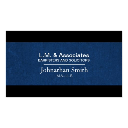 Law Business Card - Blue & Black Lawyer Attorney