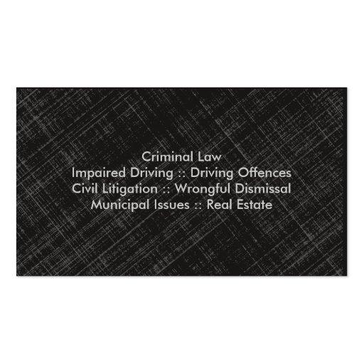 Law Business Card - Blue Grey Black Professional (back side)
