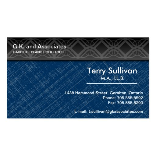 Law Business Card - Blue Grey Black Professional