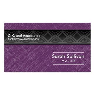 Law Business Card - Purple Grey Black Professional