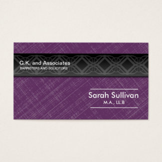 Law Business Card - Purple Grey Black Professional
