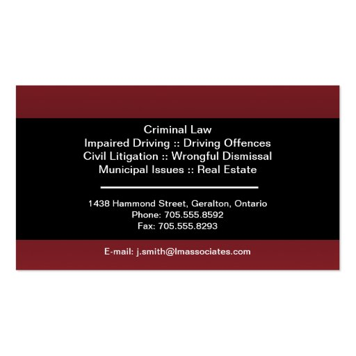 Law Business Card - Red & Black Lawyer Attorney (back side)