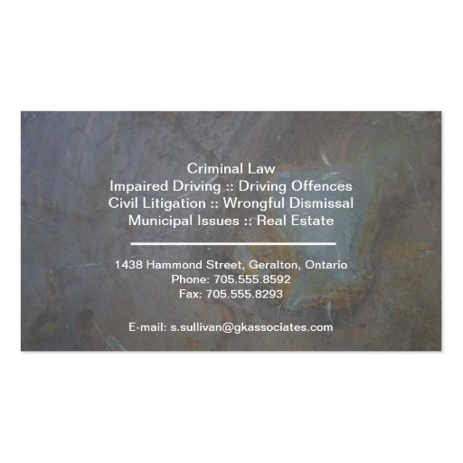 Law Business Card - Rock Texture Lawyer Attorney (back side)