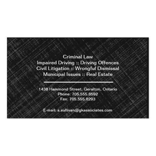 Law Business Card - Teal Black Monogram Stylish (back side)