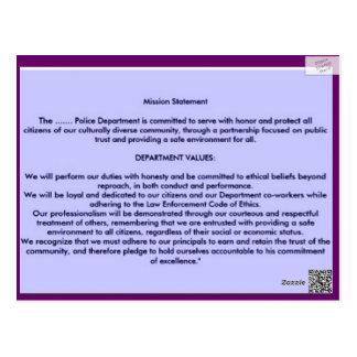 LAW ENFORCEMENT CODE OF ETHICS POSTCARD