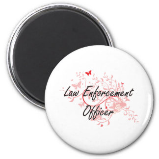 Law Enforcement Officer Artistic Job Design with B 2 Inch Round Magnet