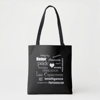 Law Enforcement Pride-White Heart/Text Design Tote Bag
