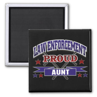 Law Enforcement Proud Aunt 2 Inch Square Magnet