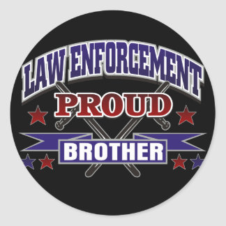 Law Enforcement Proud Brother Round Stickers