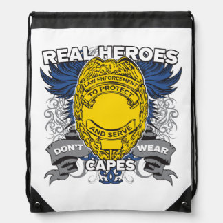 Law Enforcement Real Heroes Drawstring Bag