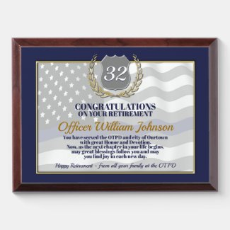 Law Enforcement Retirement Award Plaque
