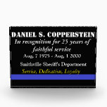 "Law enforcement retirement plaque<br><div class=""desc"">Law enforcement retirement plaque that is the perfect gift for the retiring officer in your organization. Features the thin blue line which represents law enforcement officers of all types and is equally fitting for city police, county sheriff's departments, or even federal agents. This great, high quality plaque, is sure to...</div>"