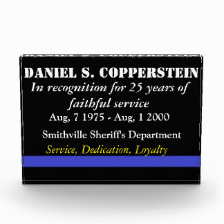 Law enforcement retirement plaque award