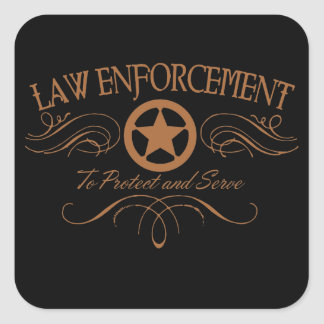 Law Enforcement Western Square Sticker