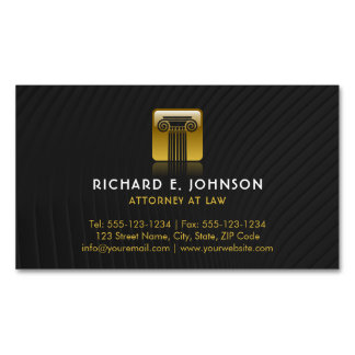 Law Firm Black Flat Gold Justice Pillar Lawyer Business Card Magnet