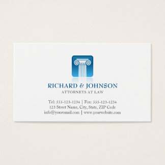 Law Firm Blue Pillar of Justice Lawyer Solicitor Business Card