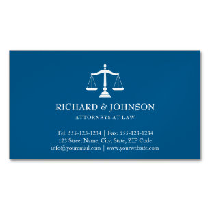 Law firm business cards templates zazzle law firm blue scales of justice lawyers solicitor business card magnet colourmoves