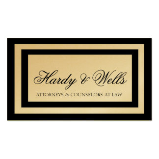 Law Firm Lawyer Attorney Black Borders Gold Paper Double-Sided Standard Business Cards (Pack Of 100)