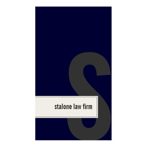 Law Firm Lawyer Business Card Bold Monogram Navy