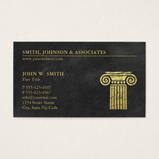 Law Firm Pillar of Justice Gold (effect) Lawyers Business Card