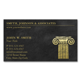 Law Firm Pillar of Justice Gold (effect) Lawyers Magnetic Business Card