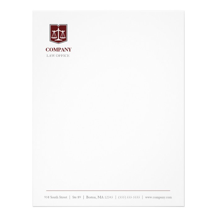 Law firm professional letterhead zazzle for Law office letterhead template free