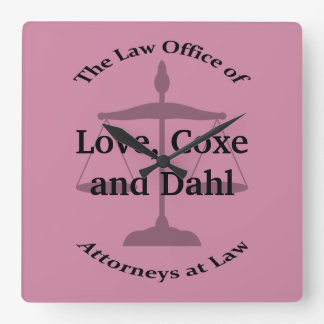 Law Firm Puns Square Wall Clock